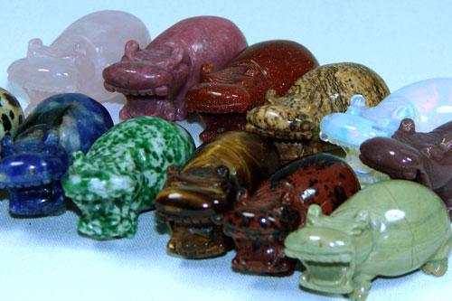 Carved Stone Hippo Figurine