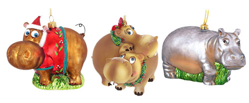 Hippo Christmas Ornaments