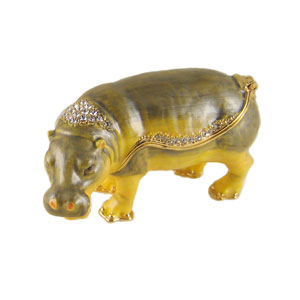 Bejeweled Hippo Trinket Box