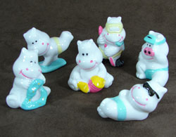 Set of Six Beach Hippos