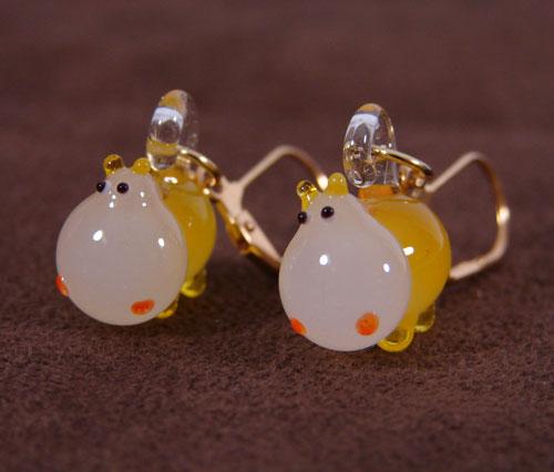 Lampwork Hippo Earrings
