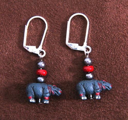 Tiny Hippo Earrings