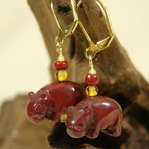 Semi-Precious Stone Hippo Earrings
