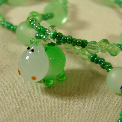 Lampwork Glass Hippo Necklace