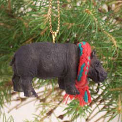 Hippo with Scarf Ornament