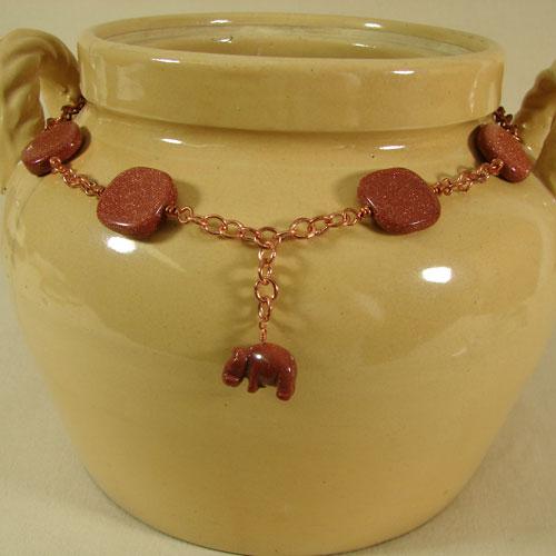 Goldstone and Copper Hippo Necklace