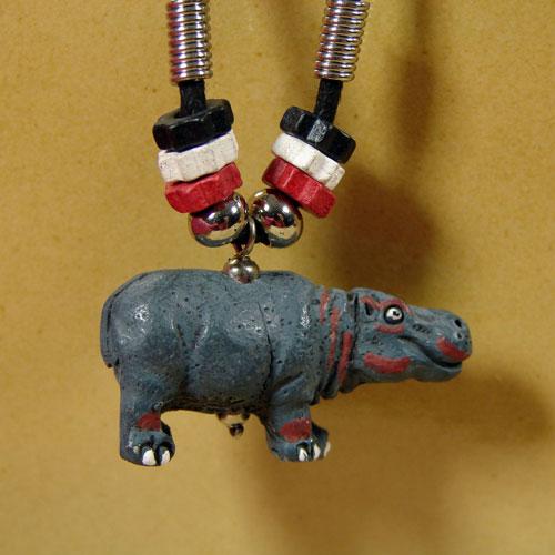 Ceramic Hippopotamus Necklace