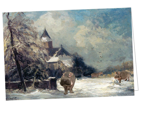 A Church in a Snow Covered Landscape, with Hippos