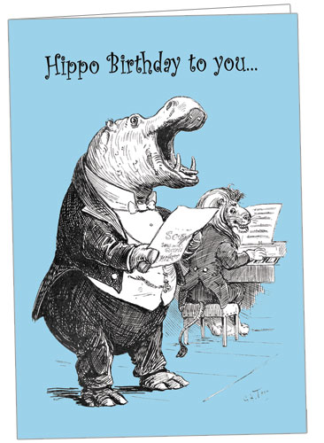Singing Hippo Note Card
