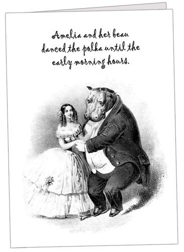 Polka Dancing Hippo Note Card