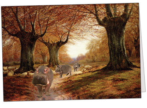 Autumnal Landscape with Hippos
