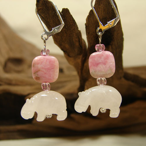 Palest Pink Beaded Hippo Earrings