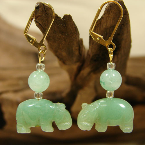 Jade Green Hippo Earrings