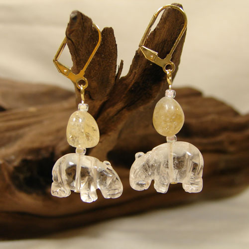 Crystal Clear Hippo Earrings