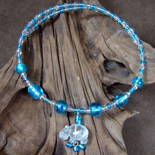 White Quartz Hippo and Blue Foil Beaded Necklace