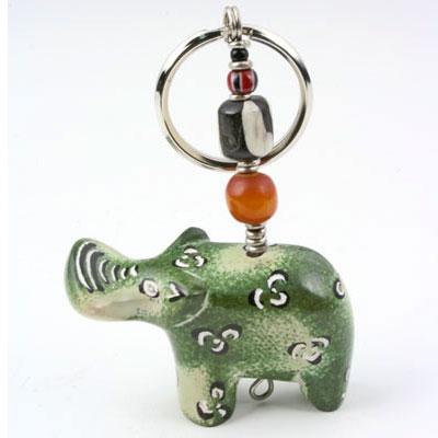 Soapstone Hippo & Bead Key Chain