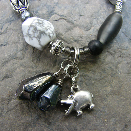 Silver & Howlite Hippo Necklace