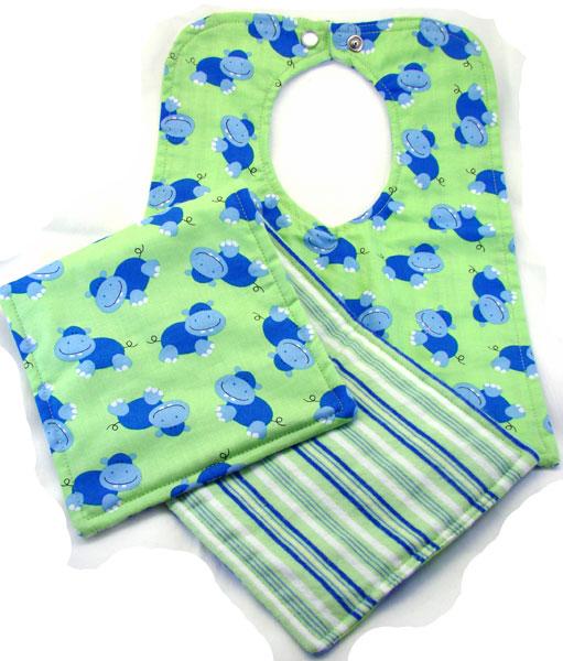 Blue & Green Hippo Bib & Burp Cloth Set
