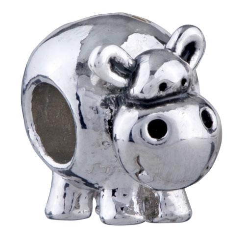 Silver European Bracelet Hippo Charm Bead