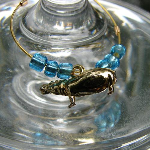 Wine Glass Hippo Charms