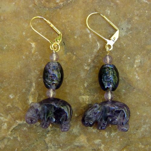 Purple Semi-Precious Stone Hippo Earrings