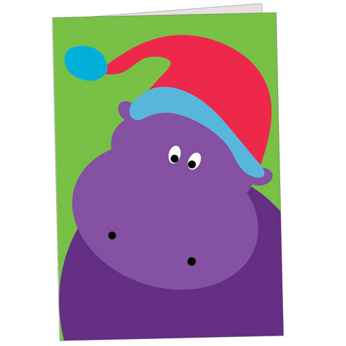 Hippo Holidays - Purple Hippo With Santa Hat