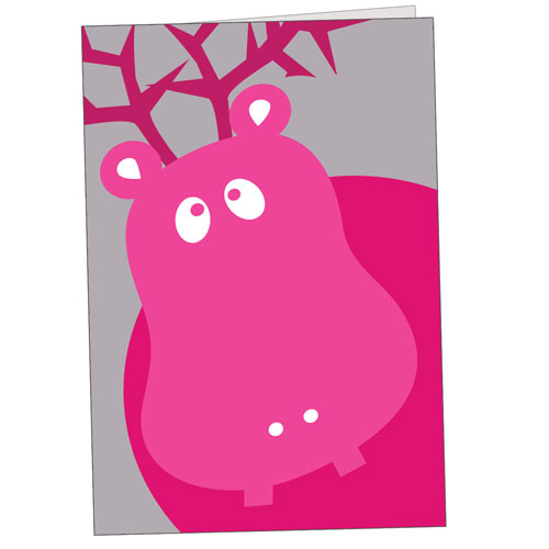 Hippo Holidays - Pink Hippo With Antlers