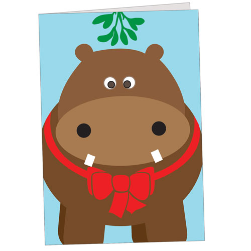 Hippo Holidays - Brown Hippo With Mistletoe