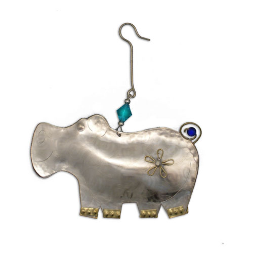 Flower Hippo Ornament
