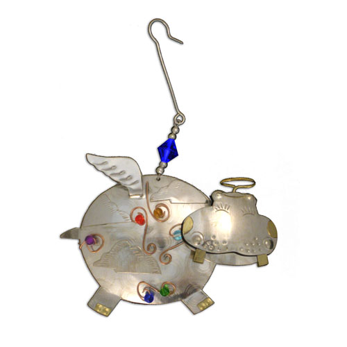 Silver Hippo Angel Ornament