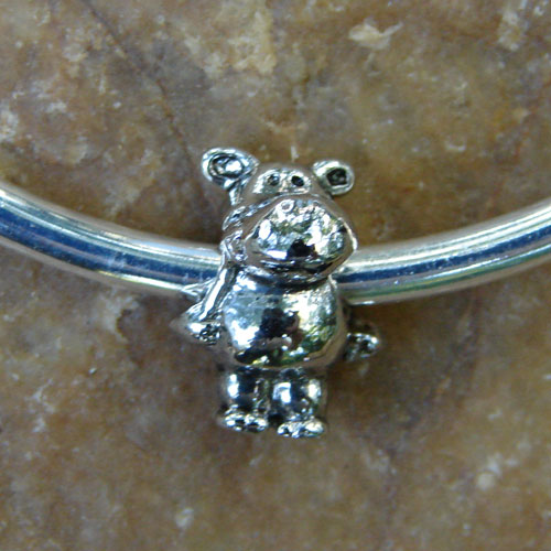 Silver Bangle Bracelet with Hippo Bead