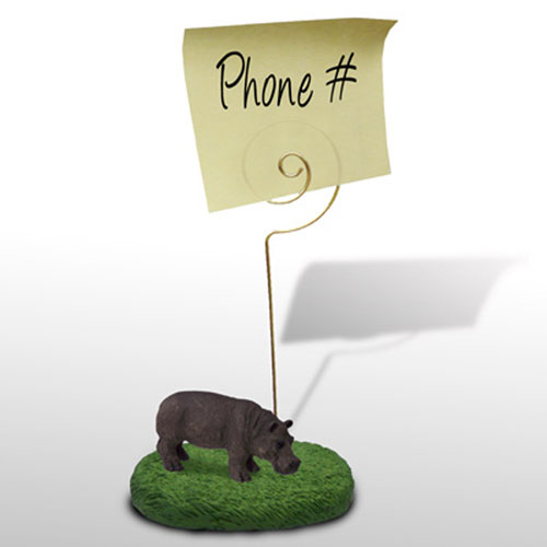 Memo Holder with Hippo on Grass