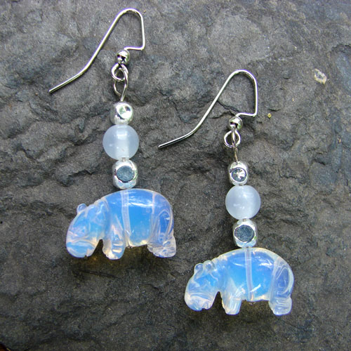 Opalescent Hippo Earrings