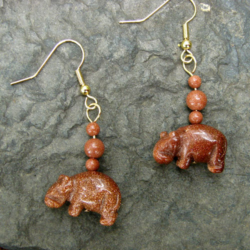Goldstone Beaded Hippo Dangles