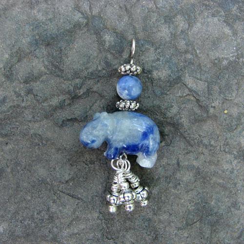 Blue Semi-Precious Stone Hippo Pendant