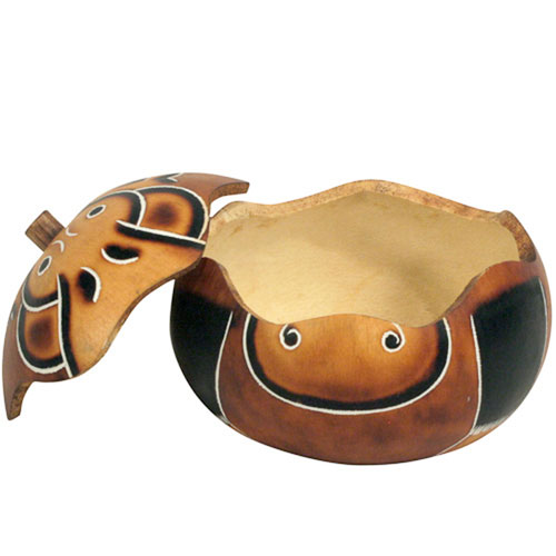 Hand Carved Peruvian Hippo Gourd Trinket Box