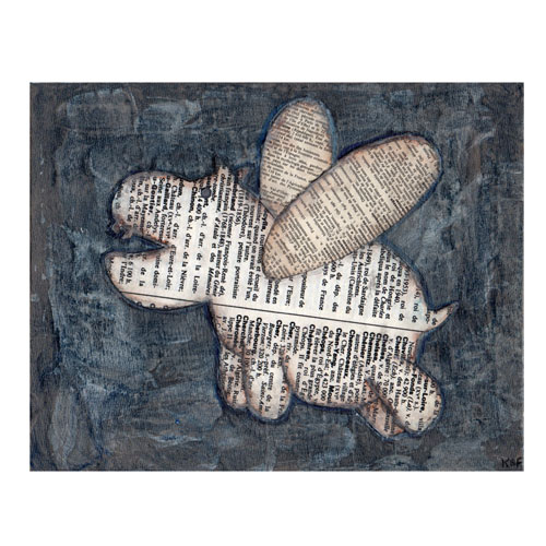 Flying Hippo French Dictionary Paper Collage Painting