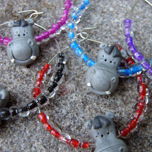 Polymer Clay Hippo Head Wine Glass Charms