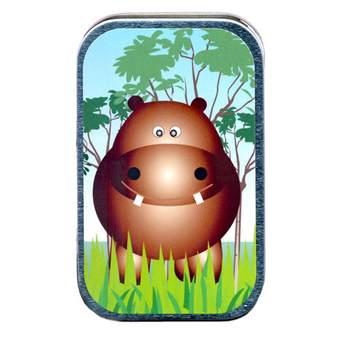 Brown Hippo In Grass Mint Tin