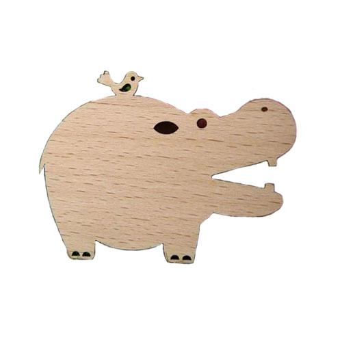 Hippo & Bird Wooden Brooch