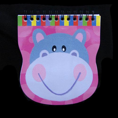 Glittery Hippo Spiral Bound Notebook
