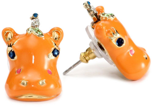 Betsey Johnson Safari Collection Orange Hippo Stud Earrings