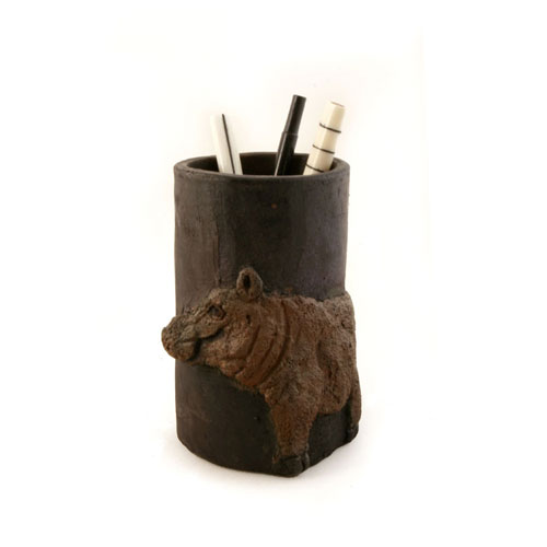 Handmade Luhya Hippo Ceramic Pencil Cup from Kenya